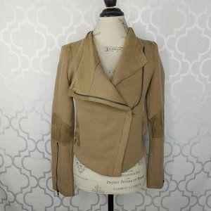 Esley Tan Tweed Microfiber Moto Jacket